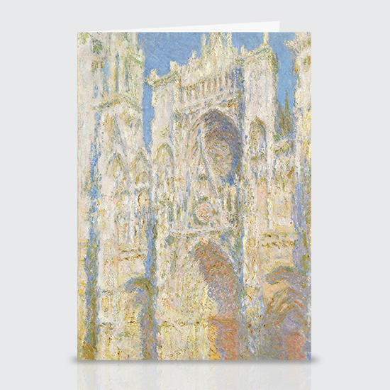 Rouen Cathedral West Façade Sunlight - Greeting Cards