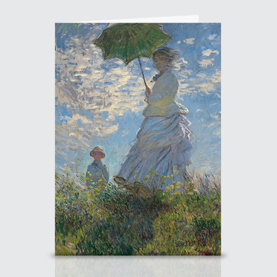 Woman with a Parasol Madame Monet and Her Son - Greeting Cards