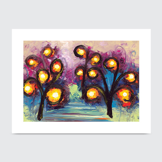 One Light Two Light Red Light Blue Light - Art Print