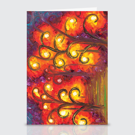 Forest of Fire Orbs - Greeting Cards