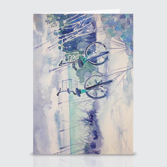 Beach Bikes - Greeting Cards
