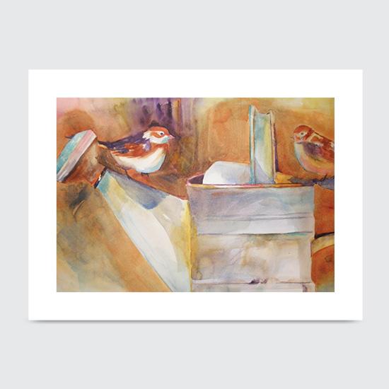 Birds Watercan - Art Print