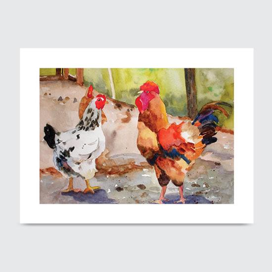 Mollies Chickens - Art Print
