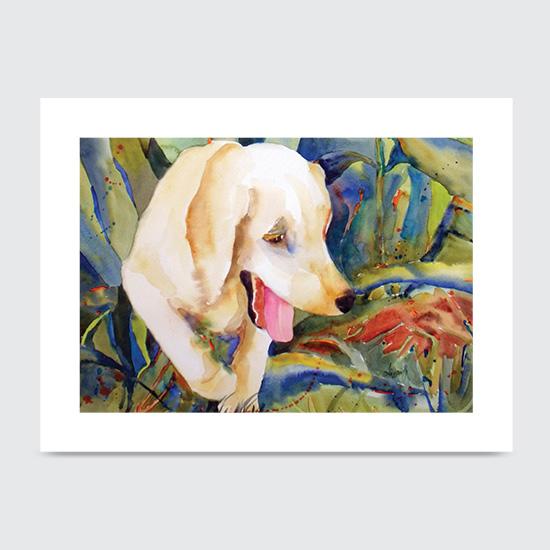 Puppy in Flowerbed - Art Print