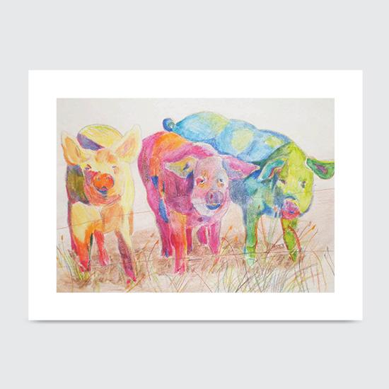 Piggin out Lime Snowcones - Art Print