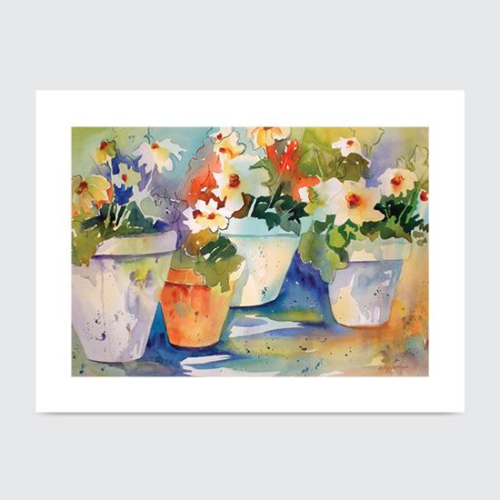 Daisies Pots - Art Print