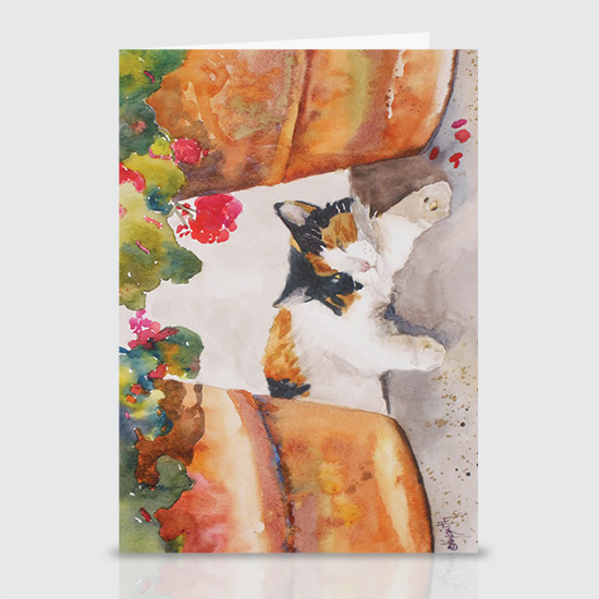 Normas Calico and Pots - Greeting Cards