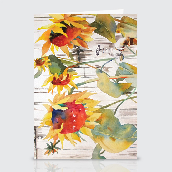 White Picket Sun Flowers - Greeting Cards