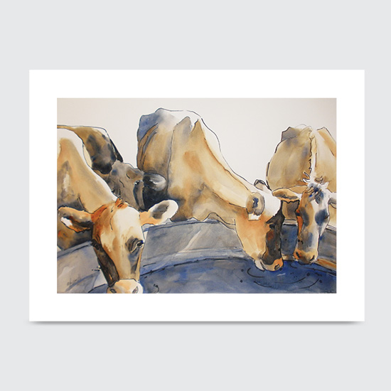 Watering Hole Cows - Art Print