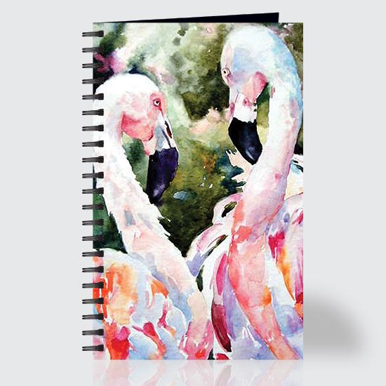 Watercolor Flamingos - Journal - Front