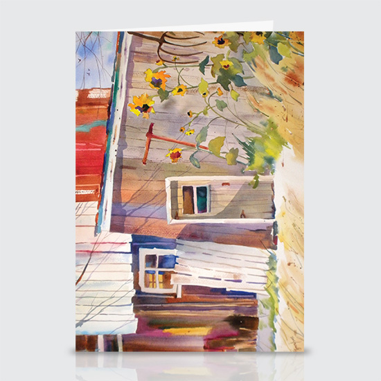 Sun Flowers and Barns - Greeting Cards