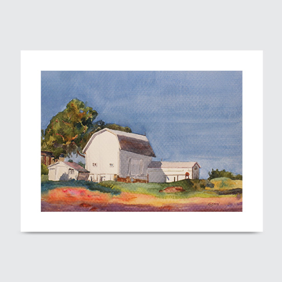 Watercolor Barn - Art Print