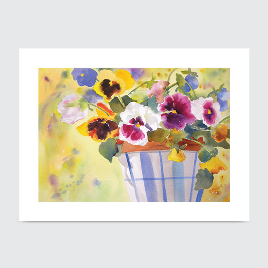 Potted Pansies - Art Print