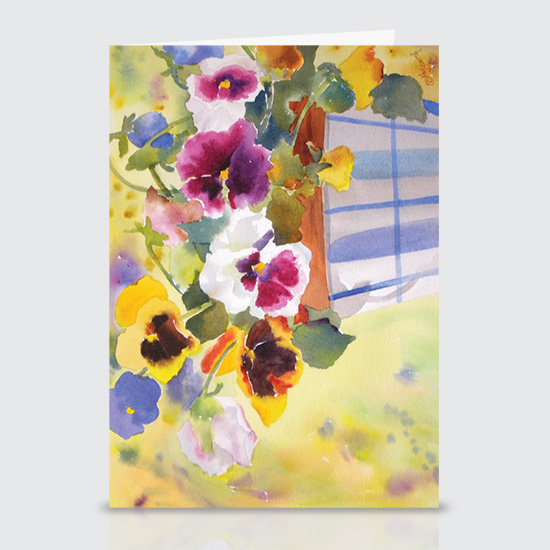 Potted Pansies - Greeting Cards