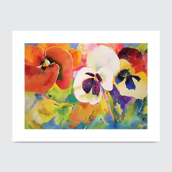 Watercolor Pansies - Art Print