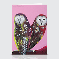 Chocolate Raspberry Owl - Greeting Cards