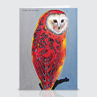 Glowing Owl Ice Blue - Greeting Cards