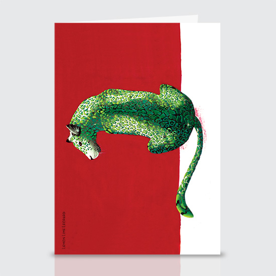 Lemon Lime Leopard - Greeting Cards