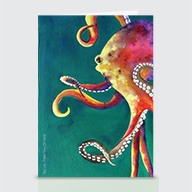 Mardi Gras Octopus - Greeting Cards
