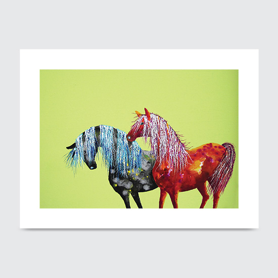 Painted Ponies on Pistachio - Art Print
