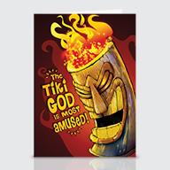 Amused Tiki God - Greeting Cards