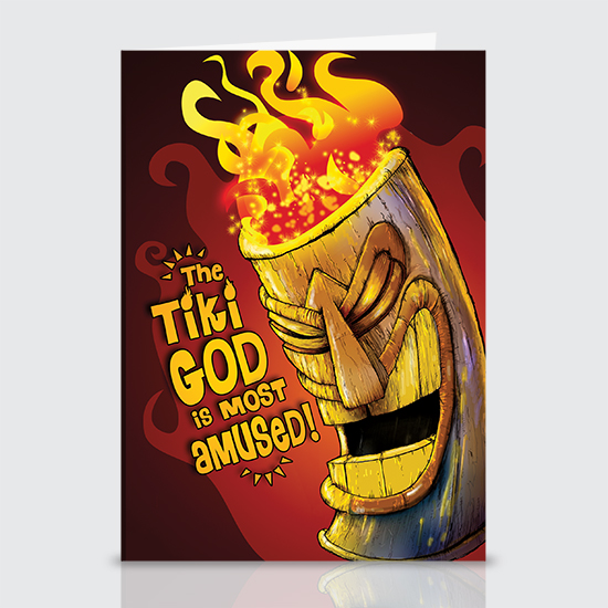 Amused Tiki God - Greeting Cards