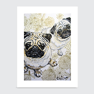 Two Pugs - Art Print