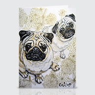 Two Pugs - Greeting Cards