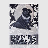 BW Pug - Greeting Cards